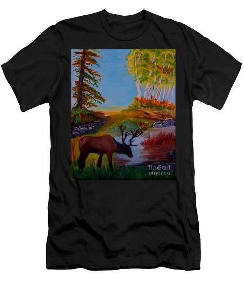 Men's T-Shirt (Slim Fit) featuring the painting Cool Drink by Leslie Allen
