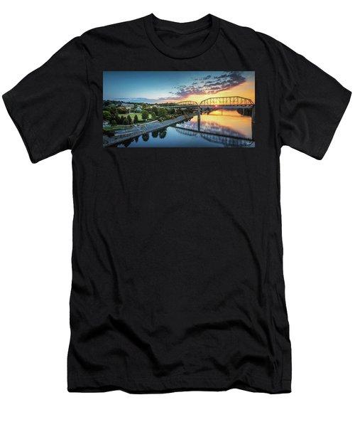 Coolidge Park Sunrise Panoramic Men's T-Shirt (Slim Fit) by Steven Llorca