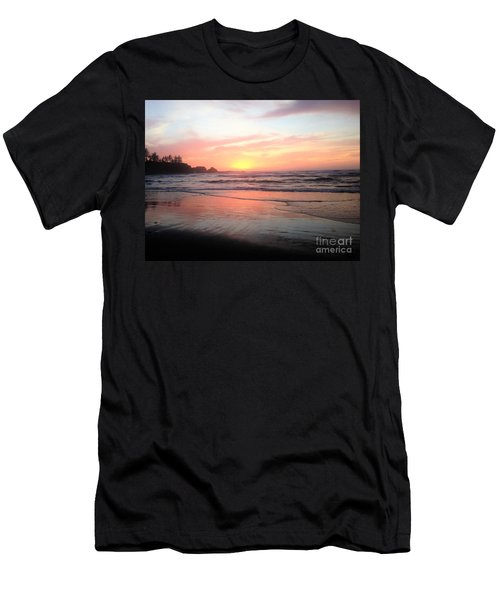 Men's T-Shirt (Slim Fit) featuring the painting Coos Bay by Linda Shackelford