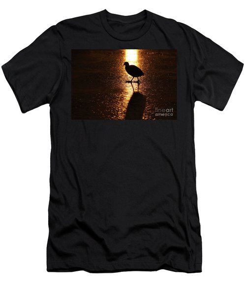 Coot Walks On Golden Ice  Men's T-Shirt (Athletic Fit)