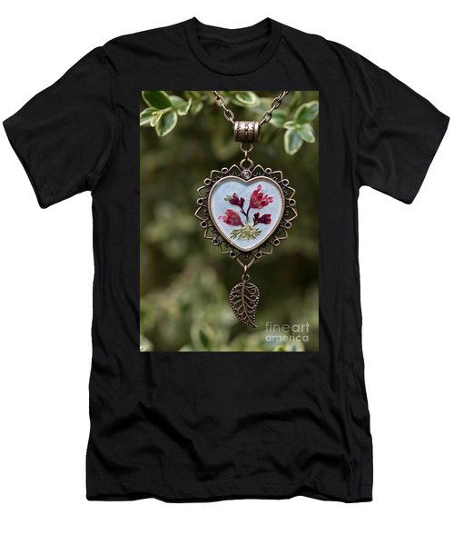 Coral Bell Pressed Flower Pendant Men's T-Shirt (Athletic Fit)