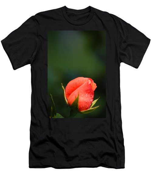 Coral Rose On Green Men's T-Shirt (Athletic Fit)