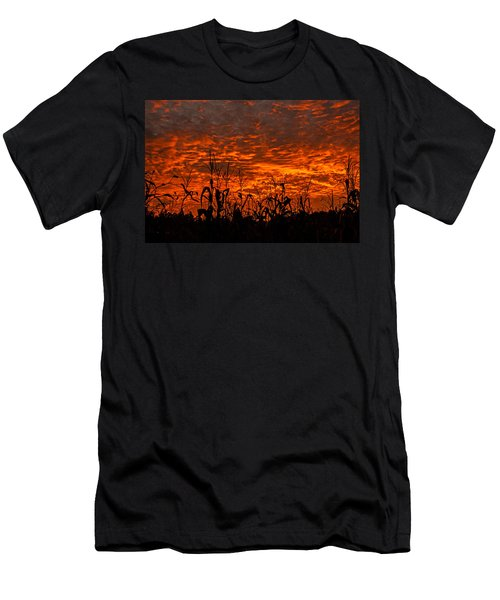 Men's T-Shirt (Slim Fit) featuring the photograph Corn Under A Fiery Sky by John Harding