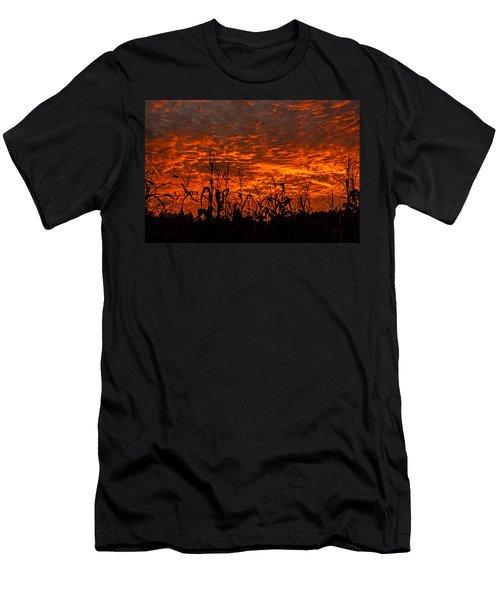 Corn Under A Fiery Sky Men's T-Shirt (Slim Fit) by John Harding