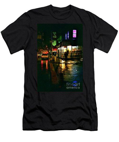 Men's T-Shirt (Slim Fit) featuring the photograph Corner In The Rain by Miriam Danar