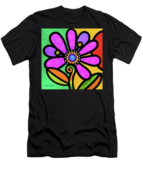 Cosmic Daisy In Pink Men's T-Shirt (Athletic Fit)