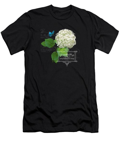 Cottage Garden White Hydrangea With Blue Butterfly Men's T-Shirt (Athletic Fit)