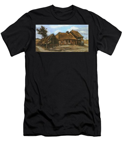 Cottage With Decrepit Barn And Stooping Woman, 1885 Men's T-Shirt (Athletic Fit)