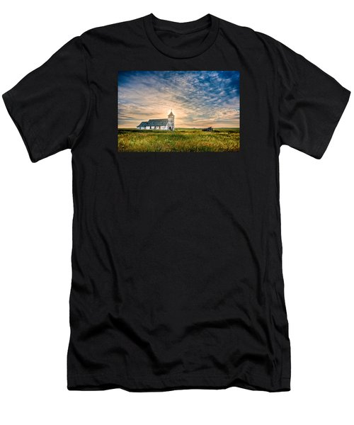Men's T-Shirt (Athletic Fit) featuring the photograph Country Church Sunrise by Rikk Flohr
