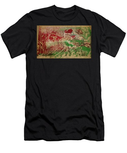Country Home With Cottage Men's T-Shirt (Athletic Fit)