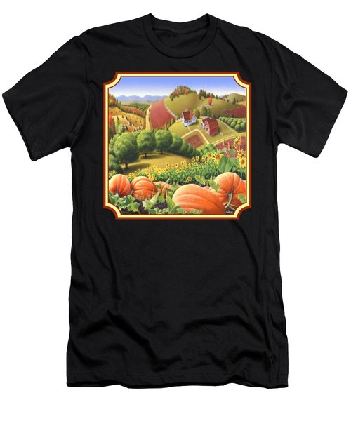 Country Landscape - Appalachian Pumpkin Patch - Country Farm Life - Square Format Men's T-Shirt (Athletic Fit)