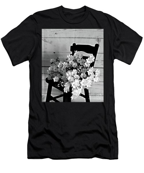 Country Porch In B And W Men's T-Shirt (Slim Fit) by Sherry Hallemeier