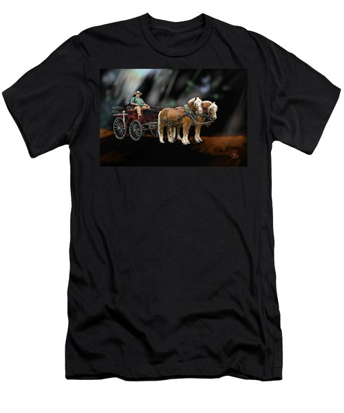 Country Road Horse And Wagon Men's T-Shirt (Slim Fit) by Debra Baldwin