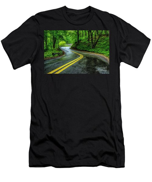 Country Road In Spring Rain Men's T-Shirt (Athletic Fit)