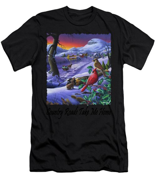 Country Roads Take Me Home - Small Town Winter Landscape With Cardinals - Americana Men's T-Shirt (Athletic Fit)
