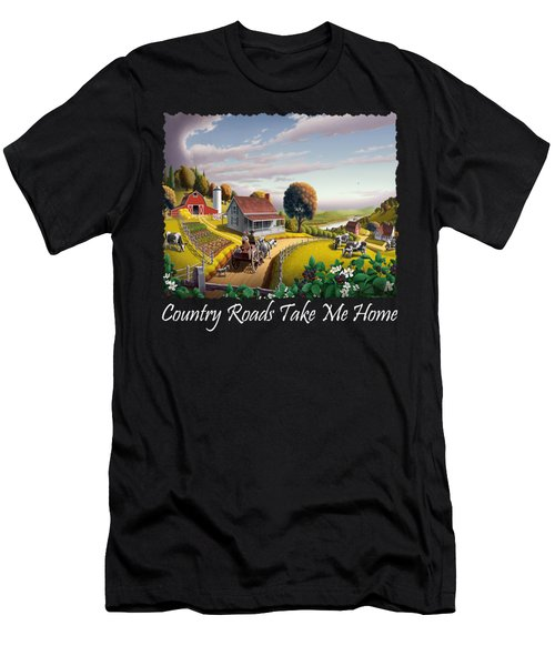 Country Roads Take Me Home T Shirt - Appalachian Blackberry Patch Country Farm Landscape 2 Men's T-Shirt (Athletic Fit)