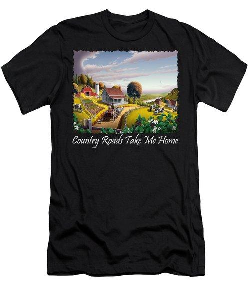 Country Roads Take Me Home T Shirt - Appalachian Blackberry Patch Country Farm Landscape 2 Men's T-Shirt (Athletic Fit)