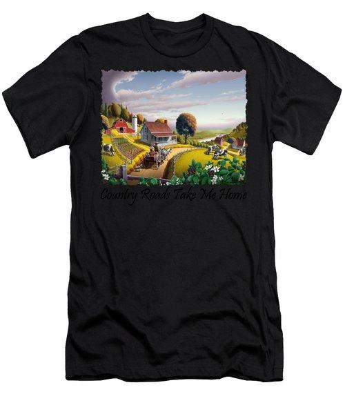 Country Roads Take Me Home T Shirt - Appalachian Blackberry Patch Rural Farm Landscape - Appalachia Men's T-Shirt (Athletic Fit)