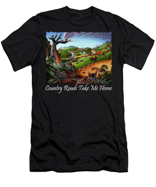 Country Roads Take Me Home T Shirt - Autumn Wheat Harvest 2 Country Farm Landscape Men's T-Shirt (Athletic Fit)