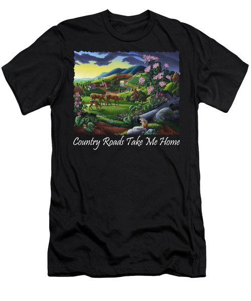 Country Roads Take Me Home T Shirt - Deer Chipmunk In High Meadow Appalachian Country Landscape 2 Men's T-Shirt (Athletic Fit)