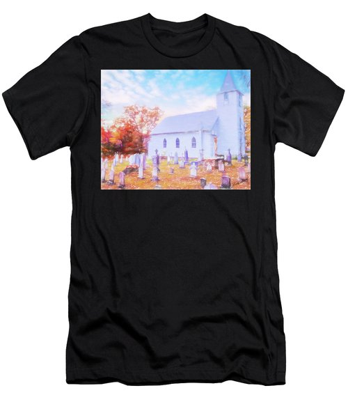 Country White Church And Old Cemetery. Men's T-Shirt (Athletic Fit)