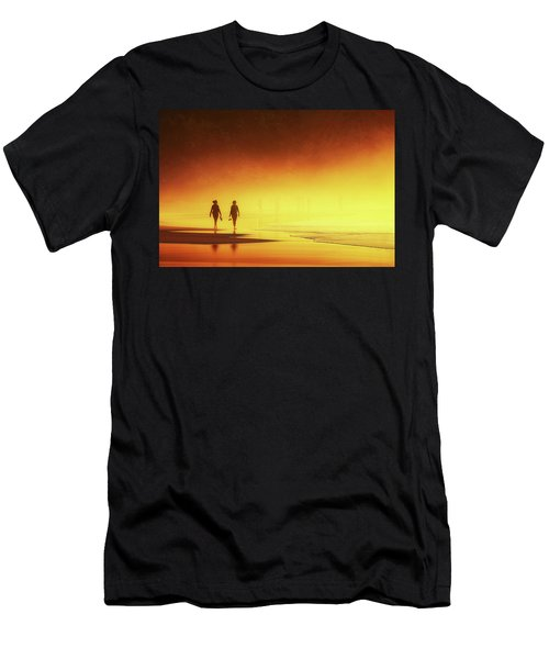 Couple Of Women Walking On Beach Men's T-Shirt (Athletic Fit)
