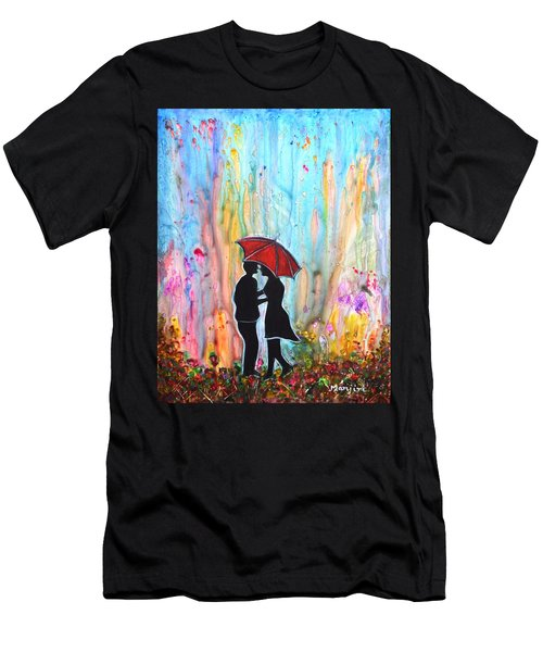 Couple On A Rainy Date Romantic Painting For Valentine Men's T-Shirt (Athletic Fit)