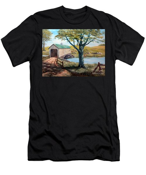 Covered Bridge, Americana, Folk Art Men's T-Shirt (Athletic Fit)