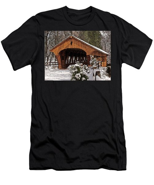 Covered Bridge At Olmsted Falls-winter-2 Men's T-Shirt (Athletic Fit)