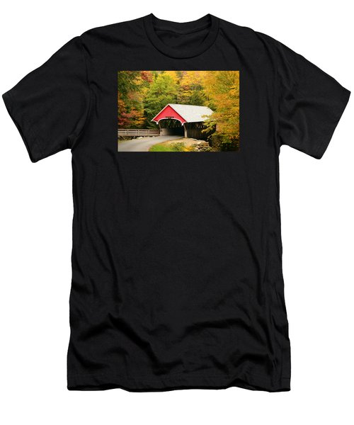 Covered Bridge In Autumn Men's T-Shirt (Athletic Fit)
