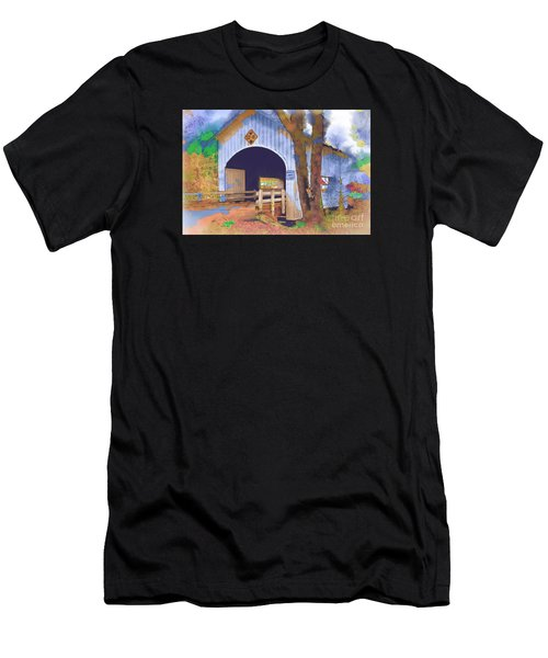 Covered Bridge In Watercolor Men's T-Shirt (Athletic Fit)