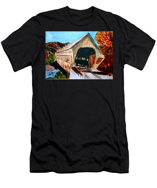 Men's T-Shirt (Slim Fit) featuring the painting Covered Bridge Woodstock Vt by Donna Walsh