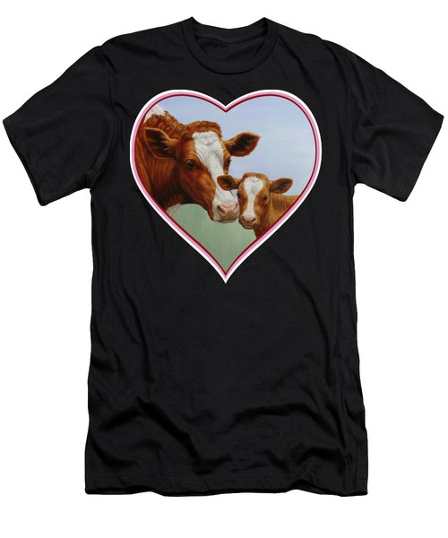 Cow And Calf Pink Heart Men's T-Shirt (Athletic Fit)
