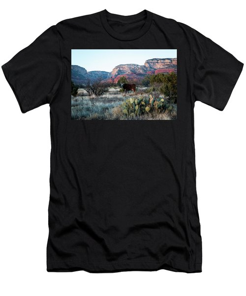 Cow At Red Rock Men's T-Shirt (Athletic Fit)