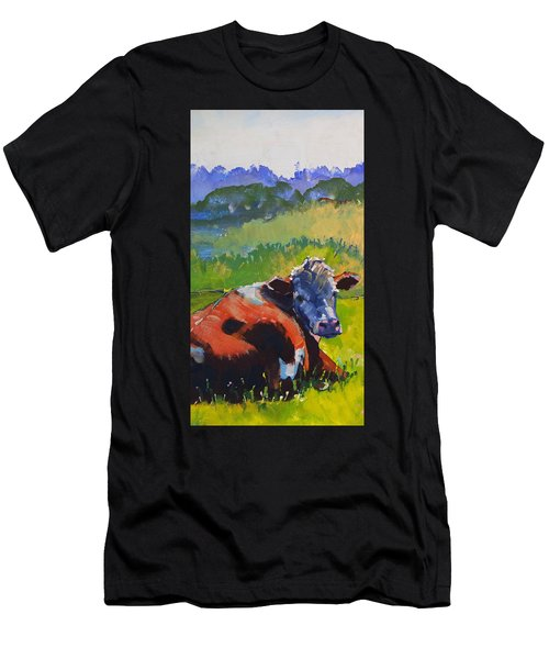 Cow Lying Down On A Sunny Day Men's T-Shirt (Athletic Fit)