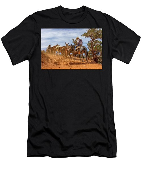 Cowboy And Mule Train On The South Kaibab Trail In The Grand Canyon Men's T-Shirt (Athletic Fit)