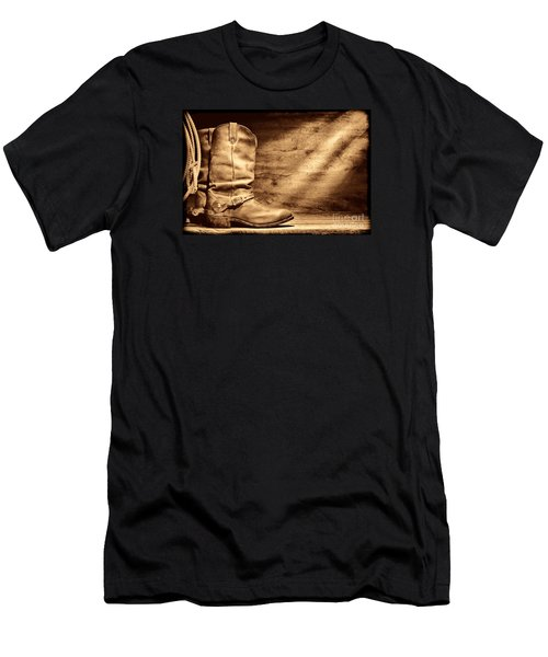 Cowboy Boots On Wood Floor Men's T-Shirt (Athletic Fit)
