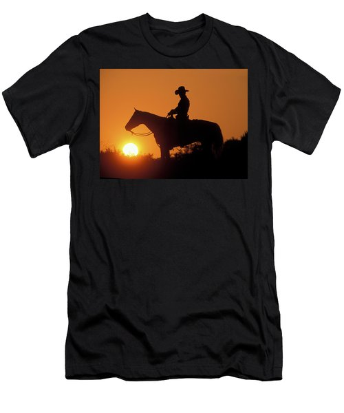 Cowboy Sunset Silhouette Men's T-Shirt (Athletic Fit)