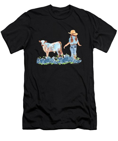Cowgirl Calf In The Bluebonnets Pe005 Men's T-Shirt (Athletic Fit)