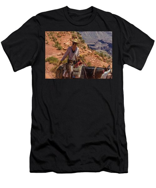 Cowgirl Leading A Mule Train On The South Kaibab Trail Men's T-Shirt (Athletic Fit)