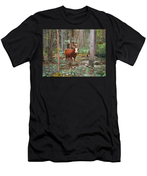 Cows In The Woods Men's T-Shirt (Athletic Fit)