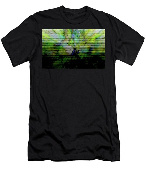 Cracked Abstract Green Men's T-Shirt (Athletic Fit)