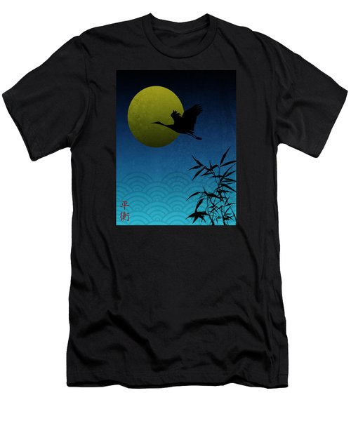 Crane And Yellow Moon Men's T-Shirt (Athletic Fit)