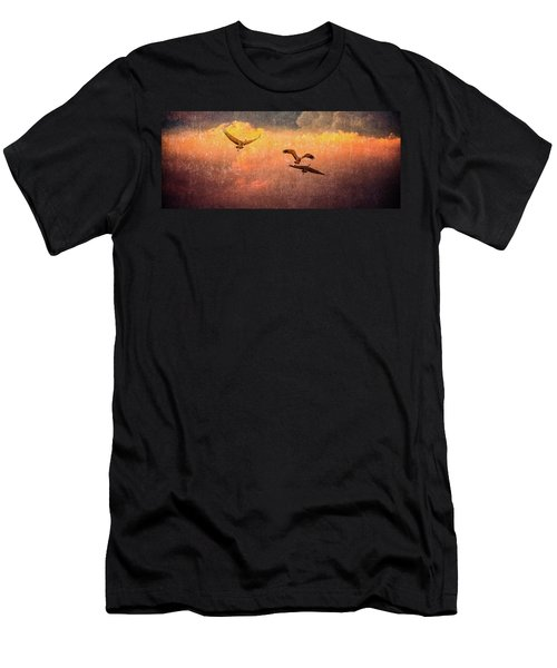 Cranes Lifting Into The Sky Men's T-Shirt (Athletic Fit)