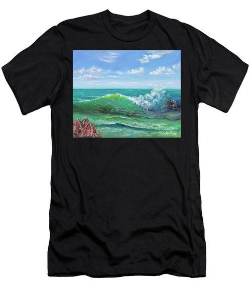 Men's T-Shirt (Athletic Fit) featuring the painting Crashing Wave by Mary Scott