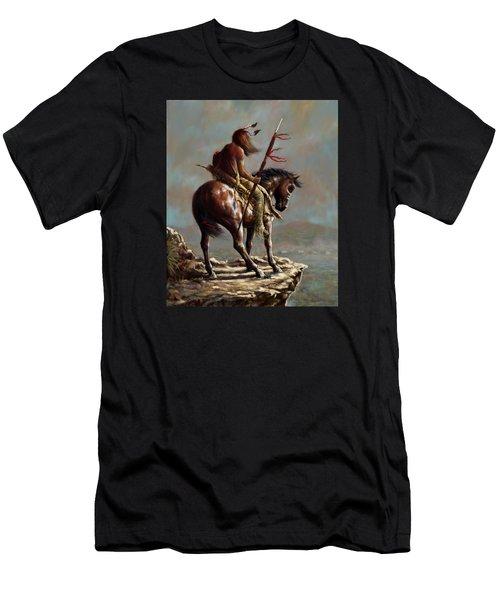 Crazy Horse_digital Study Men's T-Shirt (Slim Fit) by Harvie Brown