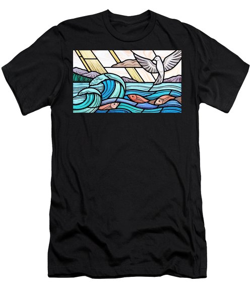 Men's T-Shirt (Slim Fit) featuring the glass art Creation Of The Sea And Sky by Gilroy Stained Glass