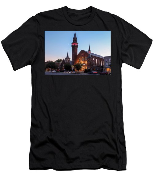 Crescent Moon Over Old Town Hall Men's T-Shirt (Athletic Fit)