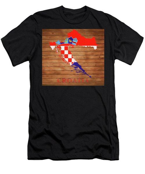 Croatia Rustic Map On Wood Men's T-Shirt (Athletic Fit)