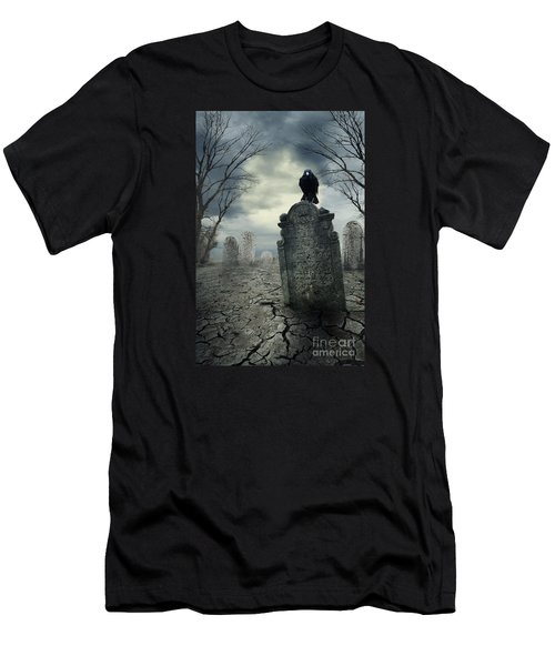 Crow On The Tombstone Men's T-Shirt (Athletic Fit)